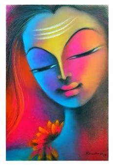 Chalk Pastels, Dry Pastels, Krishna Art, Krishna Images, Abstract Sketches, Soft Pastel Art, Madhubani Painting, Indian Art Paintings, Angel Art