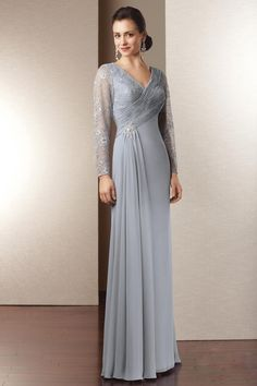 Nice A-line V-neck Long Sleeve Lace And Chiffon Mother Of The Bride Dress