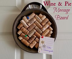 What goes better with organization than wine and pie? Ok, perhaps nothing...unless you're talking about this project! A vintage pie tin is covered in wine corks and then hung using a thrifted leather belt, creating a fun, simple, handy message board! #SadieSeasongoods