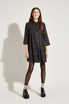 Pleat Shirt Dress Constellation Print - THE WHITEPEPPER http://www.thewhitepepper.com/collections/winter-drop-1/products/pleat-shirt-dress-constellation-print