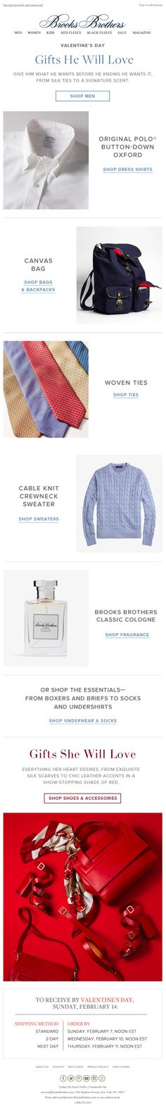 Brooks Brothers Valentine's Day email 2016