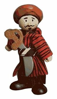 """Budkins Oriental Pirate Abdul by Budkins. $10.99. Includes wooden sword and turban. He is about 4"""" tall. Abdul is a pirate with an Asian flair. He is wearing a colorful robe. Part of the Pirate collection. From the Manufacturer                Budkins - friendly, bendy, poseable characters. Budkins have wooden heads and feet and are dressed in real fabric clothing. Their hands and bodies are durable plastic, with most accessories made of painted wood. They have ha..."""