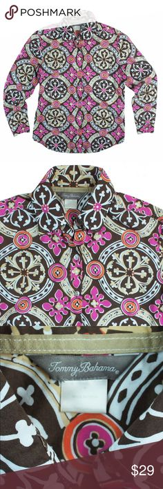 "TOMMY BAHAMA Brown & Pink Print Button Down Shirt Excellent condition! This brown, white, pink and orange pattern shirt from TOMMY BAHAMA features button closures. Made of 100% cotton. Measures: bust: 38"", total length: 25"", sleeves: 22"" Tommy Bahama Tops Button Down Shirts"