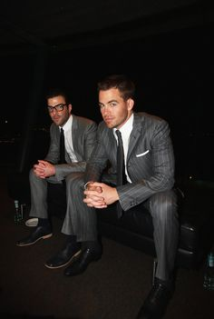 Chris Pine and Zachary Quinto look dapper on the sky deck for the premiere of Star Trek at Sky City on Wednesday (April 9, 2009) in Auckland, New Zealand.