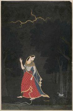 The Heroine Going to Meet Her Lover by Mola Ram - Famous Indian Art - Handmade Oil Painting on Canvas — Canvas Paintings Mughal Paintings, Indian Art Paintings, Amazing Paintings, Indian Traditional Paintings, Traditional Art, Sanskrit, Oriental, India Art, Krishna Art