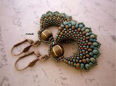Beaded earrings in peyote stitch & beads increasing in size - basket shaped - very pretty - by IrenaK