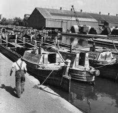""" Barges on the canals of London, August 1953""  #Brentford #London #canal #Boat"