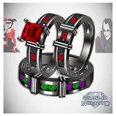 His Hers Harley Quinn and The Joker Batman Inspired Black Rhodium or... ❤ liked on Polyvore featuring jewelry, rings, black rhodium engagement ring, gold jewelry, black rhodium jewelry, engagement rings and gold jewellery