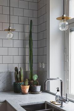 Industrial Minimal Interior Kitchen | Green Details | Copper | White Tiles. Kitchen cactus garden