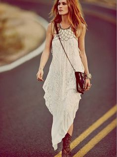 White Asymmetrical Lace Maxi Dress for Summer.