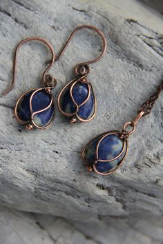Copper and Sodalite Blue Bells wire wrap by Keep and cherish on Etsy, $25.00