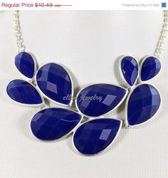 NEW silver tone bubble necklace Colorful Bubble Necklace, Drop Shape Necklace,bib necklace  Resin Jewelry  (FN0542-Royal Blue) on Etsy, $9.44