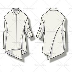 Women's Asymmetrical Draped Blouse Fashion Flat Template