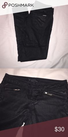Guess Leather Look Coated Skinny Jeans Zippered Super cute jeans with zippers. They have a leather like look as they are black coated (not leather). These are a thinner light Jean. Guess Jeans Skinny