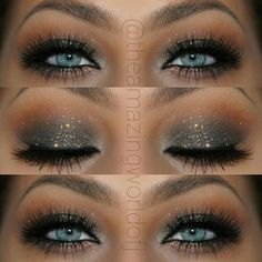 make up guide Elegant Glitter Smokey Eye Makeup That Makes Her Blue Eyes POP ~ Stunning! ♡♥♡♥♡♥ make up glitter;make up brushes guide;make up samples; make up brushes guide Eye Makeup Tips, Makeup Inspo, Eyeshadow Makeup, Makeup Inspiration, Beauty Makeup, Makeup Ideas, Gel Eyeliner, Makeup Products, Makeup Designs