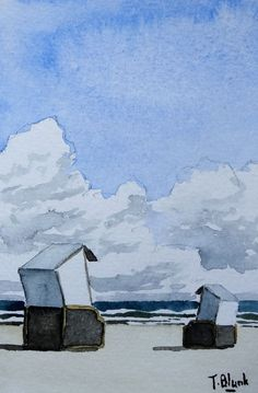 ORIGINAL AQUARELL - Strandkörbe an der Nordsee.