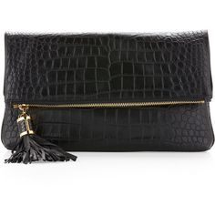 Michael Kors black Large Tonne Crocodile Embossed Fold-Over Clutch Bag ($750) ❤ liked on Polyvore