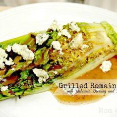 grilled romaine salad with balsamic dressing and blue cheese