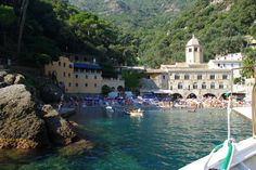 San Fruttuoso. Only reachable by foot or by boat! #travel Want to know more about this beautiful place check out my blog post at www.caughtinwanderlust.com