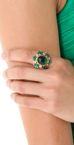Emerald Green Juicy Couture Jeweled Cocktail Ring