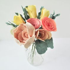 Mother's Day custom bouquet for mom! felt flowers by Ellywise Studios peonies, ranunculus and tulips Memphis TN handmade
