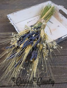 Wedding Dried lavender wheat bouquet ideas for brides or bride's maids.  Perfect for home or office decor too.