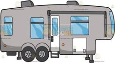 A Modern Trailer: A modern gray trailer with glass windows slim white door four wheels air conditioning system and quad stand Travel Clipart, Air Conditioning System, Wood Plaques, White Doors, Vector Illustrations, Quad, Quilt Blocks, Recreational Vehicles, Rv