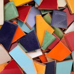 Broken Mexican solid color tiles for mosaics   less than $2/lb