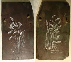 Sea Oats original paintings on up-cycled slate roofing tile via Etsy.