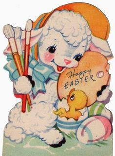 Another of the small Easter cards depicts a baby chick surprising this lamb as he is about to paint eggs for Easter.