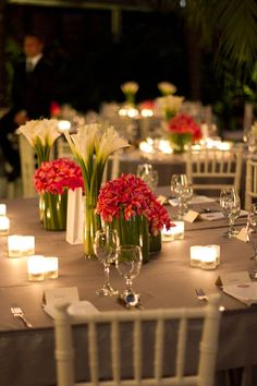I love this flower combination with grouped tealight candles