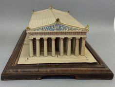 Mid 20th Century Cardboard 'Acropolis' complete with glass cabinet - Dim: H: 5.00 inch (12.70 cm), W: 17.00 inch (43.18 cm), D: 10.00 inch (25.40 cm).