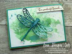 Pootlers Spring-Summer 2017 Catalogue Blog Hop. Watercolour and ink smooshing technique with Dragonfly Dreams Stamp Set and Detailed Dragonfly Thinlits Dies