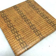 """Custom & Cool {4.25"""" Inches} Set Pack of 4 Square """"Flat & Smooth Texture"""" Large Drink Cup Coaster Made of Ceramic w/ Cork Bottom & Wicker Basket Waterproof Design [Brown Color] mySimple Products"""