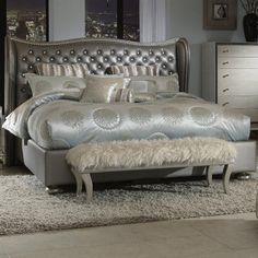 Amazon.com: Hollywood Swank Queen Graphite Leather Bed By Aico Amini: Home & Kitchen