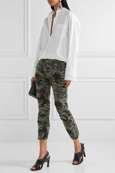 Nili Lotan - French Military Camouflage-print Brushed Cotton-blend Twill Tapered Pants - Army green