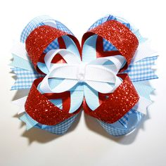 Dorothy from Wizard of Oz Stacked Hair Bow...Blue Gingham, Red Glitter, Light Blue and White