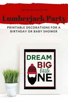 Lumberjack baby shower decorations in buffalo plaid.