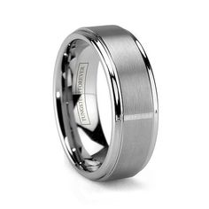 mens wedding ring | MATTINO. Tungsten Carbide Brushed Mens Wedding Ring