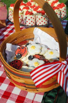 picnic basket theme, along with red and white checkered tablecloths, and a few fun ladybugs