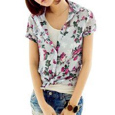 Allegra K Allegra K Ladies Floral Printed Button-down Point Collar Shirt White XS Allegra K. $9.39