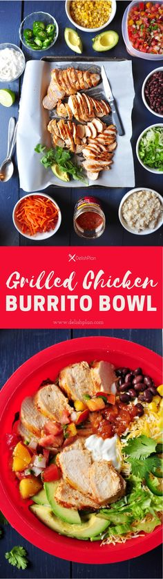 Assemble a healthy and delicious burrito bowl with these perfectly grilled juicy chicken breasts in just 30 minutes. Lunch Recipes, New Recipes, Dinner Recipes, Healthy Recipes, Family Recipes, Delicious Recipes, Favorite Recipes, Easy Recipes, Sweets Recipes