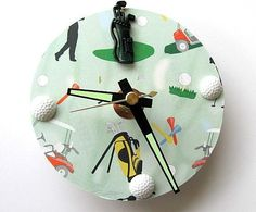 Golf Upcycled CD Clock by AllAboutTheButtons, $15.60 USD