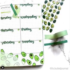 Check out the complete avocado theme bullet journal ideas! Cover, monthly, weekly and more. You will love it. Perfect for January and every other month. #avocado #bulletjournalavocado
