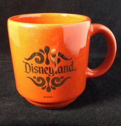 Disnelyand Coffee Mug Cup 22 Karat Gold Logo Vintage Disney Original Tag Orange