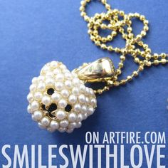 $6.50 SALE - 3D Teddy Bear Animal Charm Necklace in Gold with Pearl Detail
