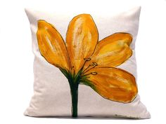 RESERVED FOR KERI Pillow. Yellow Flower. by Beccatextile on Etsy, €28.15