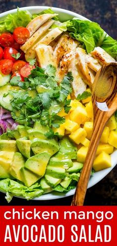 Chicken Mango Avocado Salad recipe is loaded with juicy chicken, creamy avocado and that sweet pop of mango flavor takes this mango salad over the top. The sweet and tangy honey vinaigrette couldn't be easier! A Cheesecake Factory recipe (copycat). Mango Avocado Salad, Mango Salat, Avocado Dessert, Avocado Salad Recipes, Chicken Salad Recipes, Healthy Salad Recipes, Avocado Toast, Chicken Avocado Salad, Salad With Mango