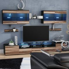 Orren Ellis Cerie Floating Entertainment Center for TVs up to 88 inches Color: Wenge/Nut Baltimor Floating Entertainment Center, Home Entertainment Centers, Entertainment Ideas, Wall Mount Electric Fireplace, Cool Tv Stands, Game Room Design, Coastal Living Rooms, Loft, Decoration