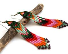 Boho seed bead earrings Extra long beaded earrings Fringe